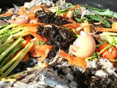 Food scraps for the compost bin or worm farm.