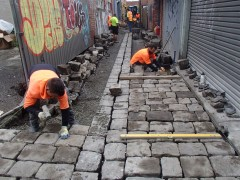 Leinster ROW Bluestone works during construction
