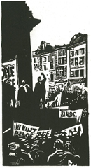 Image from War or Peace : Twelve linocuts  Noel Counihan, Jack Lindsay (Gryphon Books 1979)