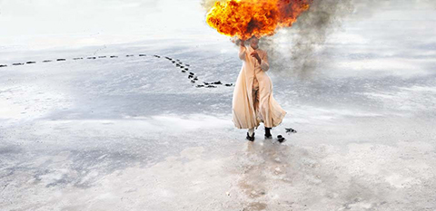 Jill Orr, Southern Cross – To bear and behold – Burning (2007) inkjet Museo Silver Rag Archival paper, 155 x 88 cm