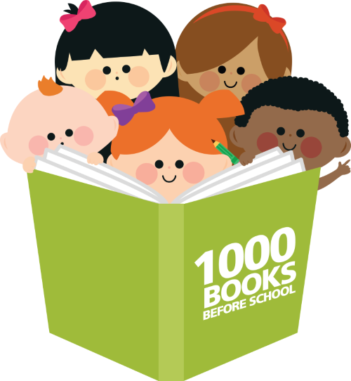 1000 Books Before School logo with children reading a book