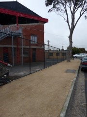 City Oval footpath and fence rear of pavilion