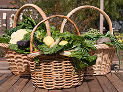 baskets of fresh vegetables and fruit