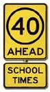 40 km. ahead school times sign