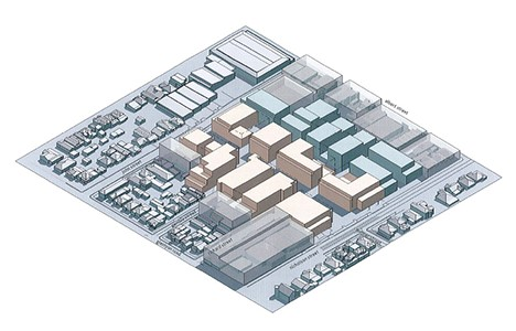 Axonometric View of the proposed built form massing within the East Brunswick Village  (Source: Approved Development Plan – Jam Architects 27/07/12)