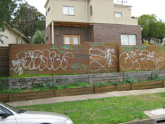 Graffiti on a house at 2 Burgundy Street Pascoe Vale.