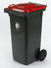 Garbage bin with red lid