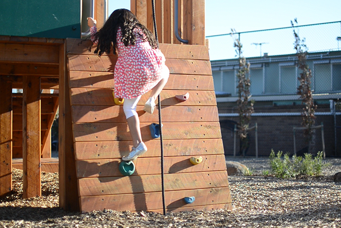 The small climbing wall at Bush Reserve playground is a hit with children