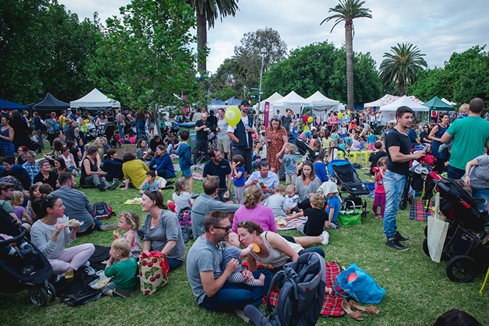 People enjoying the food and entertainment at the Coburg Night Market 2016