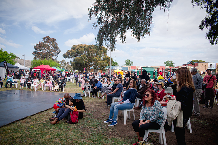 Crowds watching the stage at Fawkner Festa