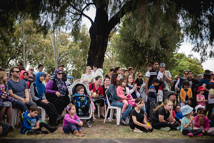 Crowd watching performers at Fawkner Festa
