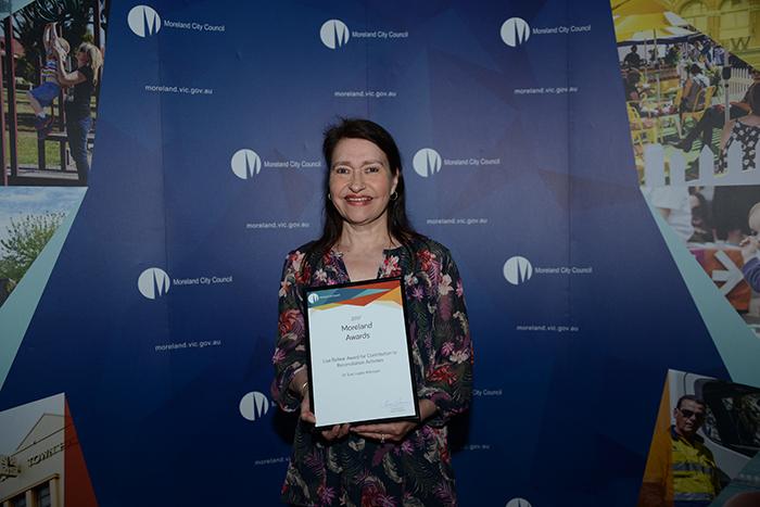 Lisa Bellear Award for Contribution to Reconciliation Activites - Winner - Dr Sue Lopez Atkinson with certificate