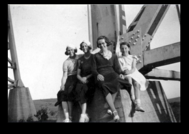 Nance Sudd with family on trestle bridge Glenroy c.1924-1925