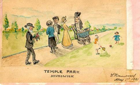 Some things don't change: Temple Park remains a popular park for social gatherings and children's play. This painting by S Hennessy in 1921 highlights how only fashion has changed.